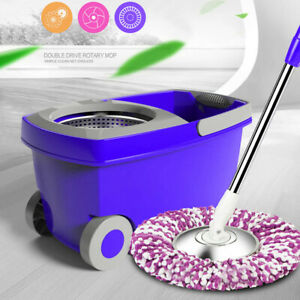 Upgraded Stainless Steel Microfiber 360 Rotating Mop And Bucket Floor Clean NEW