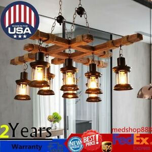 Retro Iron Wood Pendant Lamp 8 Lights Industrial Chandelier Camp Cafe Bar Decor