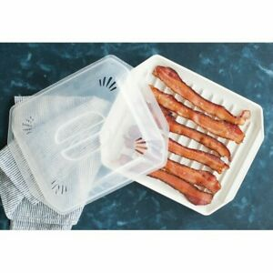 Microwave Compact Bacon Meat Food Pizza Grill Pan Tray Defroster Cooker Plate