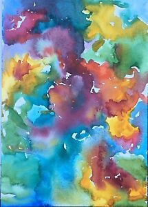 Distraction - - Original Watercolor Painting Abstract Colorful Washy 10x7 Signed $25.00