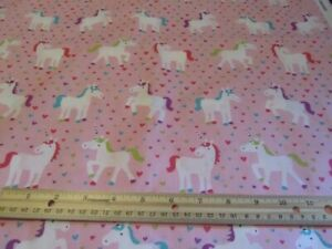 Pink With Unicorns and Hearts Cotton Fabric BTY