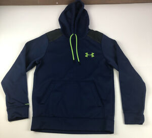 Under Armour Blue Hoodie Pullover Size Small Green Accents Sweatshirt $19.95