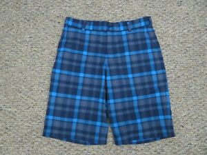 Nike Golf Dri Fit Shorts Blue Black Plaid Performance Swoosh Mens Size 33 $29.84