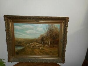 Large antique oil painting{ Piet Bouter 1887 - 1968 Herder with his flock }. $450.00