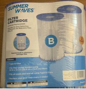 Summer Waves 2-Pack TYPE B Universal Filter Cartridge Swimming Pool Replacement