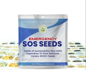 🔥 4000 Survival Seed 10 Fruit Vegetable Variety Pack Kit Emergency Non GMO SOS