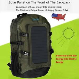 Hiking/Camping Solar Panel Charging Backpack Built-in 60W Waterproof Charger USB