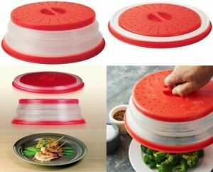 Collapsible Red Microwave Plate Cover Lid Food Dish Splatter Guard BPA Free