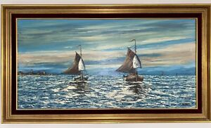 Nice Framed Original Oil Signed Painting of Boats Ships Sail the Ocean 31x55in $75.95