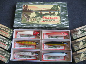 Rare Vintage Pflueger MUSTANG Musky Saltwater Fishing Lure 6-Pack DEALER DISPLAY