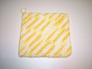 Handmade Crochet Hot Pad Potholder Double Thickness 100% Cotton Yellow White New