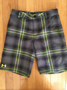 Boys Under Armour Shorts Golf Plaid Gray Green Cotton Feel Youth Medium M YMD $10.00