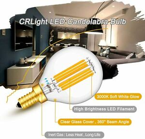 CRLight 6W 3000K Dimmable LED Candelabra Bulb Soft White, 65W Equivalent 650LM,