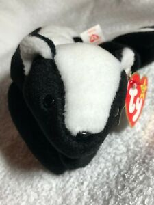 1995 Ty Original Beanie Baby quot;STINKYquot; the Skunk Style 4017 P.V.C. Pellets Errors