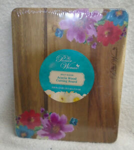 Pioneer Woman Breezy Blossom Wood Cutting Board Reversible 8 inch x 10 inch