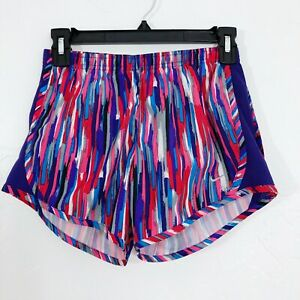 Nike Kids Dri Fit Athletic Running Shorts in Red & Purple Multicolor Girls Large $17.99