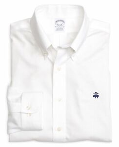 $79 NWT Brooks Brothers Men's Regent Fit Long Sleeve Solid Sport Shirt White XL $29.99