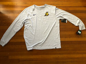 Brand New Nike Dri Fit Cotton Men's XL NBA Los Angeles Lakers Long Sleeved Shirt $35.00