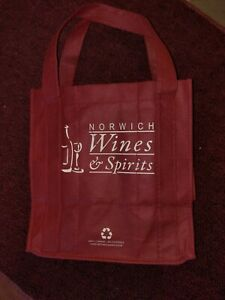 Burgundy 6 bottles Wine Beer Drink Tote Bag w Handles Norwich Wine Spirits