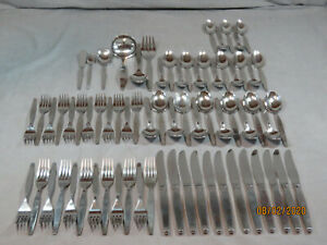 71 ONEIDA COMMUNITY *FROSTFIRE* STAINLESS FLATWARE! 12 PLACE SETTINGS + SERVING