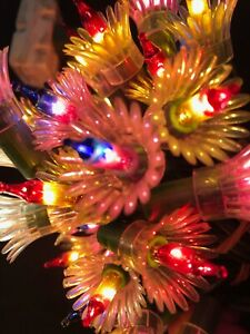 Vintage Christmas Tree 35 String Lights Flower Set Multi Rare Two Color Bulbs