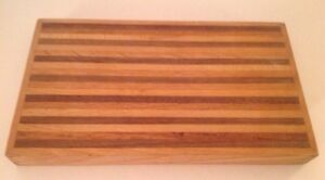 Cutting Board Hardwood Striped Wood Chopping Rectangle Bar Cocktail 10.5 x 6