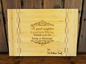 Neighbors Gift Personalized Family Lastname Cutting Board Kitchen Welcome Gift