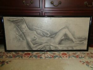 Large Vintage Reclining Nude Woman Portrait Textured Oil Painting Signed-PICKUP $150.00