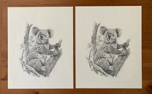 PAIR of John Ruthven Pencil Drawings Lithograph Koala Australia (1984) Unframed $50.00