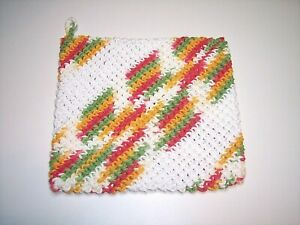 Handmade Crochet Hot Pad Potholder Double Thickness 100% Cotton Multi Color New