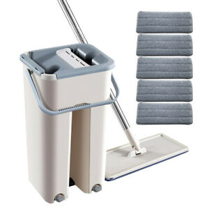 Flat Squeeze Mop and Bucket 5 Microfiber Mop Pads Hand Free Wringing Floor Clean $25.98
