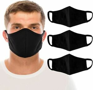 3 Large Men's Black Face Mask Washable 100% Cotton Masks