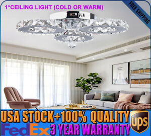 Modern Crystal Chandelier 36W Round LED Lighting Lamp Stainless Steel Pendant US