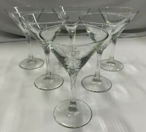 Martini Glasses 6 Set Clear Classic 5 Ounce Inverted Cone Cocktail Glasses