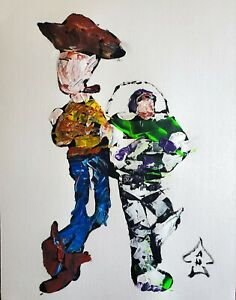 Original Painting Woody and Buzz Abstract Painting Original Artwork Collectable $45.00