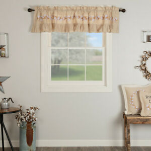 VHC Ashmont Embroidered Cotton Blossom Farmhouse Country Lined Window Valance