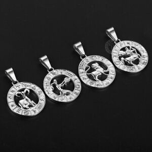 Real Stainless Steel 12 Zodiac Sign Constellation Pendant Unisex $7.99