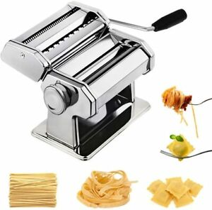 Pasta Machine Stainless Steel Manual Maker Roller Adjustable Thickness Settings~