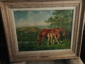 "Original Oil Signed jenness Cortez ""Mare And Foal"" $8000.00"