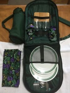 Picnic at Ascot Two Person Backpack With Wine And Cheese Setup