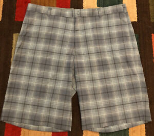 "Nike Golf ⛳️ Dri Fit Tour Golf Shorts, Men's 40 w 12"" Inseam , Gray Plaid, EUC $15.95"