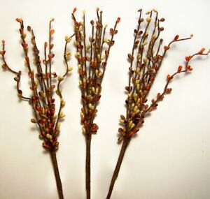 3 Pumpkin Orange Yellow Floral Harvest Fall Pip Berry Picks Stems 12