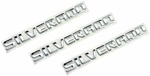 3x SILVERADO Letters Emblem Chrome For Chevrolet Tailgate Doors Badge