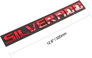 SILVERADO Letters Emblem RED For Chevrolet Tailgate Doors Badge Fender