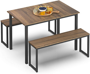 HOMURY 3 Piece Dining Table Set Breakfast Nook Dining Table with Two Benches,Ind
