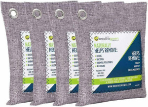 BREATHE GREEN BAMBOO CHARCOAL AIR PURIFYING BAG 4-PACK MOLD AND ODOR ELIMINATOR
