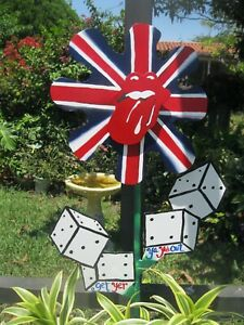 UNIQUE GARDEN ACCENT ROLLING STONES STICKY FINGERS LOGO AND TUMBLING DICE LEAVES $70.00