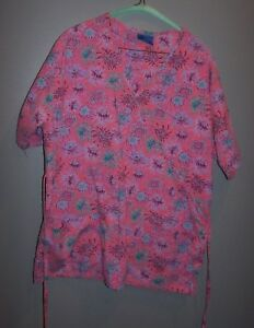 CLEARANCE Super Trendy Pink Floral Scrub Top