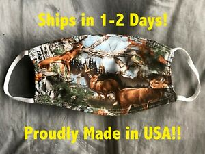 DEER CAMO CAMOUFLAGE HUNTING WOODS Men New Face Mask Cotton Reversible Washable