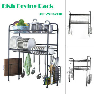 Over Sink Dish Drying Rack Cup Holder Cutlery Utensils Organizer Stainless Steel